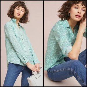 Anthro Maeve Green Print Button Down Blouse Shirt